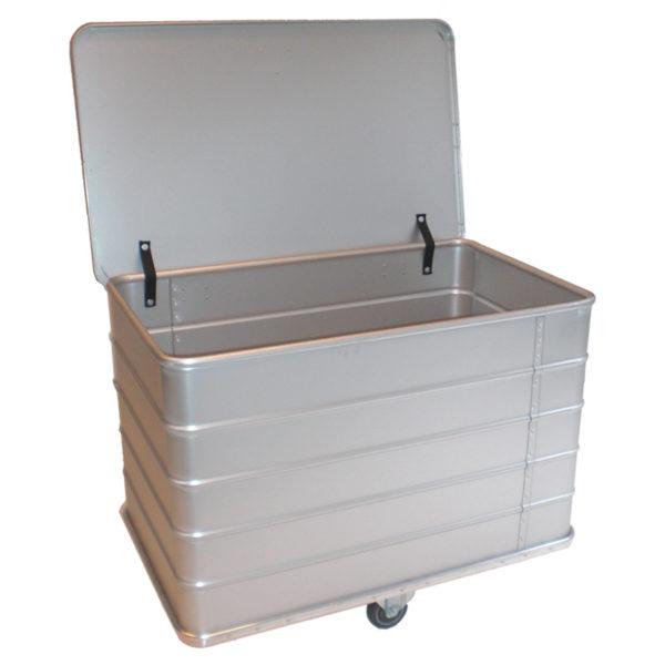 bac aluminium à déchets avec couvercle
