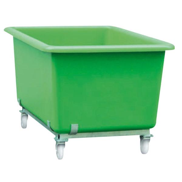 Bac plastique vert sur roues
