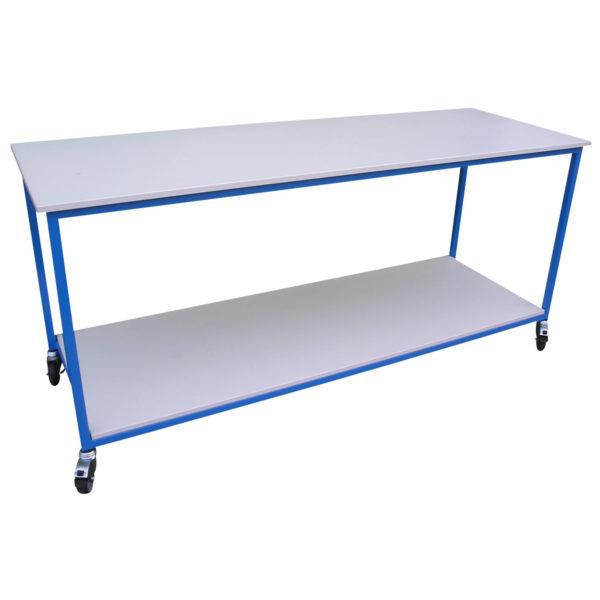 table acier plateaux bois 2 niveaux